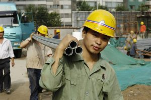 Migrant workers on a Beijing construction site
