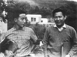 Paik Nam Jun (left) and Yun Isang (right) in Darmstadt, 1958